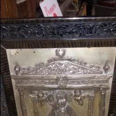 Antigüedades: CUADRO DE COBRE PLATEADO DE LA VIRGEN DE LAS ANGUSTIAS MUY ANTIGUO. Lote 53542672