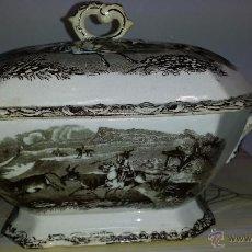 Antigüedades: ANTIGUA SOPERA DE CARTAGENA EN TONOS MARRONES, ESCENAS CINEGETICAS, SELLO INCISO Y TINTA.. Lote 48466376