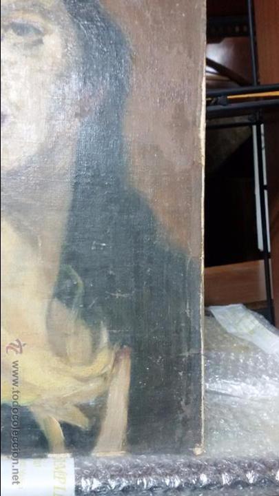 Antigüedades: VIRGEN EN VIEJO LIENZO PEGADO A TABLA - Foto 2 - 48472390