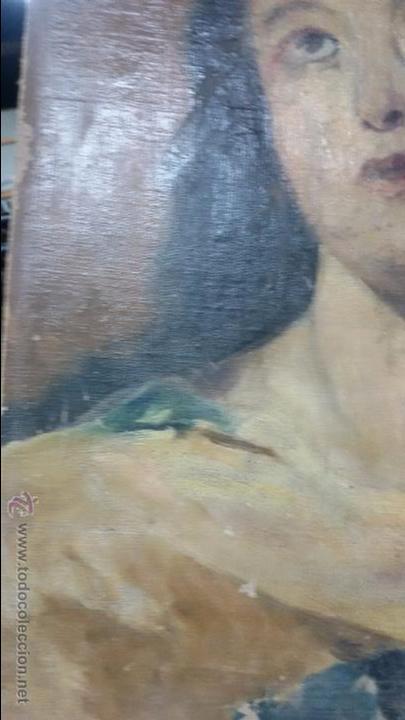 Antigüedades: VIRGEN EN VIEJO LIENZO PEGADO A TABLA - Foto 3 - 48472390