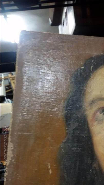 Antigüedades: VIRGEN EN VIEJO LIENZO PEGADO A TABLA - Foto 5 - 48472390