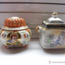 Antigüedades: SAHUMADOR Y CAJA DE PORCELANA. Lote 48472709