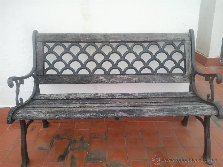 mueble antiguo de jardin-banco de madera y forj - Comprar Muebles ...