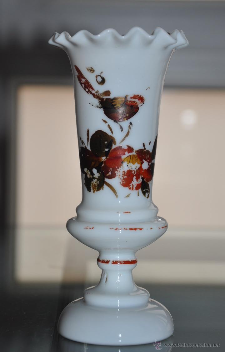 PEQUEÑO JARRÓN VIOLETERO OPALINA DE CRISTAL DE LA GRANJA (Antigüedades - Cristal y Vidrio - La Granja)