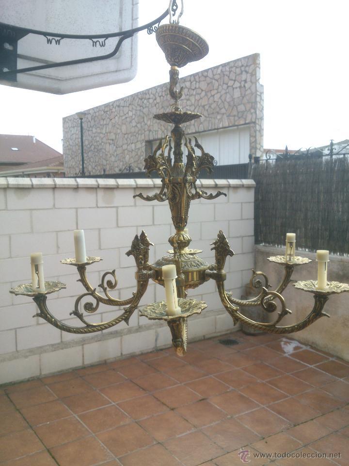 LÁMPARA DE BRONCE ESTILO IMPERIO DE SEIS BRAZOS, DE MAGNÍFICO TRABAJO. (Antigüedades - Iluminación - Lámparas Antiguas)