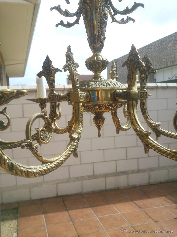 Antigüedades: Lámpara de bronce estilo imperio de seis brazos, de magnífico trabajo. - Foto 2 - 48491638