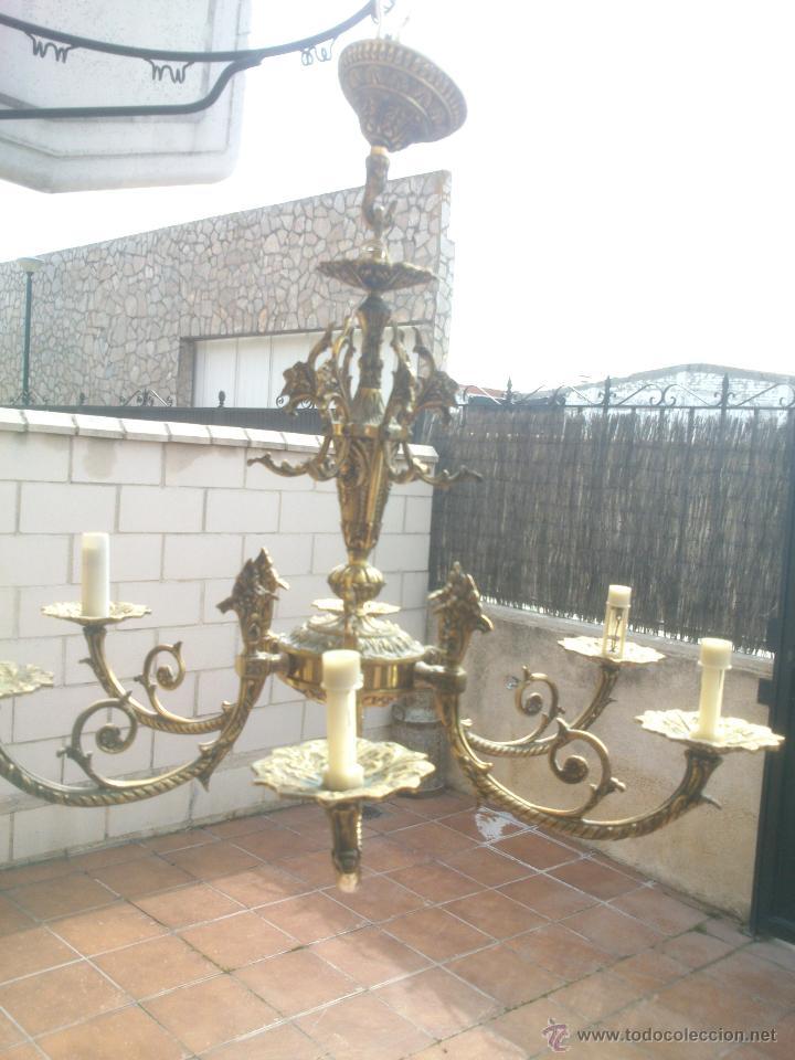 Antigüedades: Lámpara de bronce estilo imperio de seis brazos, de magnífico trabajo. - Foto 3 - 48491638