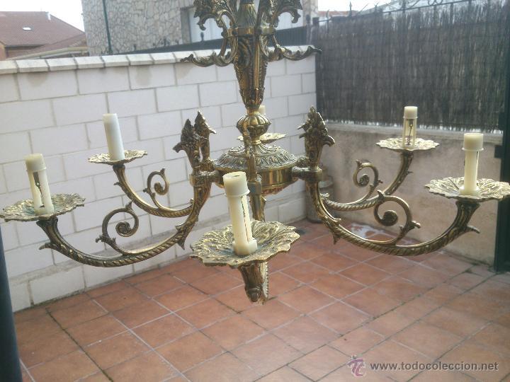Antigüedades: Lámpara de bronce estilo imperio de seis brazos, de magnífico trabajo. - Foto 6 - 48491638