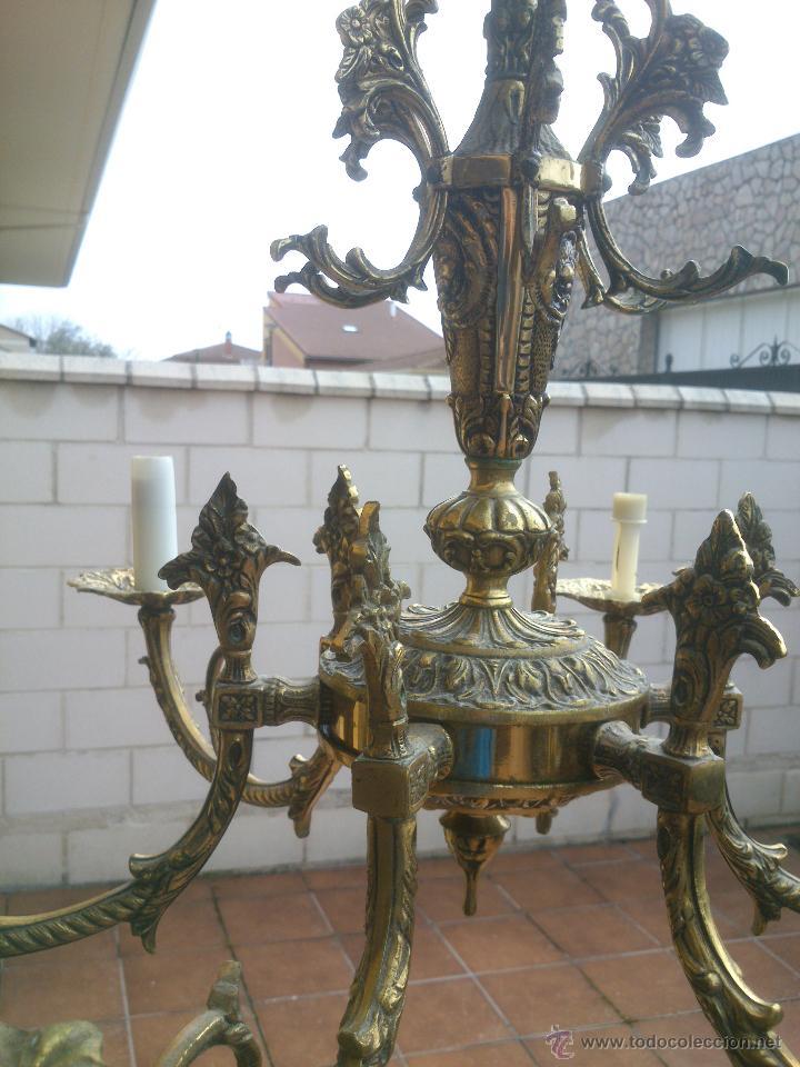 Antigüedades: Lámpara de bronce estilo imperio de seis brazos, de magnífico trabajo. - Foto 7 - 48491638