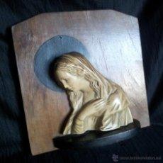 Antigüedades: FIGURA DE VIRGEN DE ESTUCO EN BALDA ART DECO. Lote 48495965