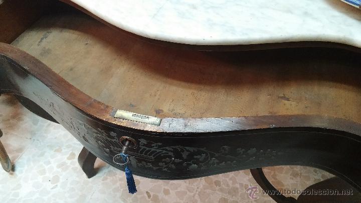 Antigüedades: ANTIGUA CONSOLA CHAPADA EN CAOBA Y CAJON ESTILO GAVETA CON MARQUETERIA - Foto 4 - 43912013