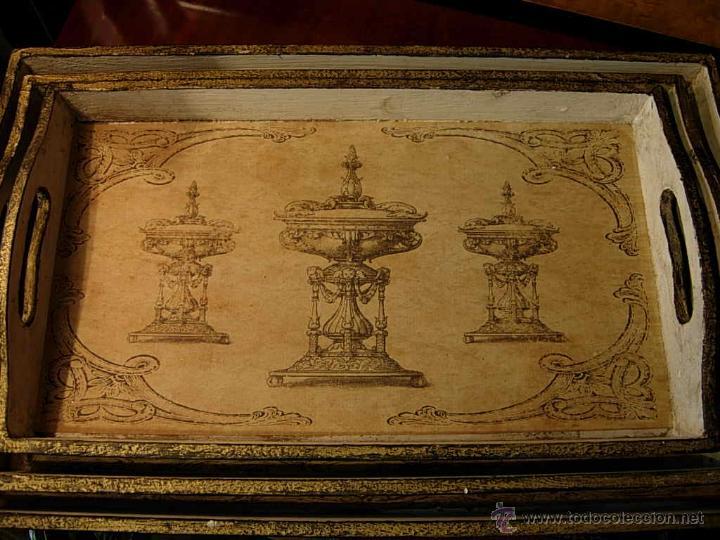Antigüedades: DECORATIVAS BANDEJAS SON TRES DE DIFERENTES TAMAÑOS. Bandeja. - Foto 2 - 48499130