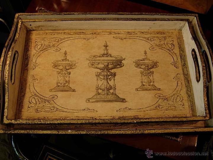 Antigüedades: DECORATIVAS BANDEJAS SON TRES DE DIFERENTES TAMAÑOS. Bandeja. - Foto 3 - 48499130