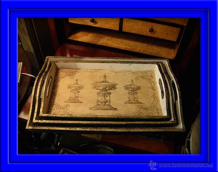 DECORATIVAS BANDEJAS SON TRES DE DIFERENTES TAMAÑOS. BANDEJA. (Antigüedades - Hogar y Decoración - Bandejas Antiguas)