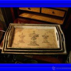 Antigüedades: DECORATIVAS BANDEJAS SON TRES DE DIFERENTES TAMAÑOS. BANDEJA.. Lote 48499130