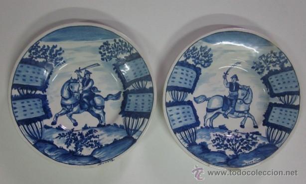 DOS PLATOS DE CERAMICA - FIRMADOS DUARTE (Antigüedades - Porcelanas y Cerámicas - Manises)