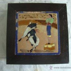 Antigüedades: AZULEJO COSTUMBRISTA CUERDA SECA FORCADOS. Lote 48526330
