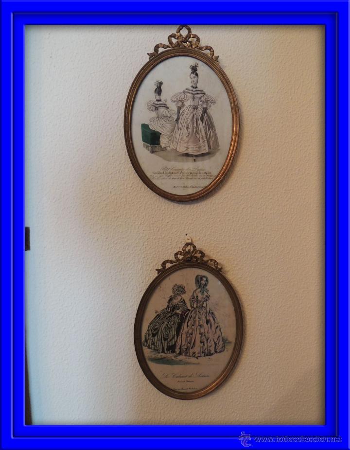 ANTIGUOS DIBUJOS DE VESTIDOS EN MARCOS ANTIGUOS DE BRONCE (Antigüedades - Hogar y Decoración - Marcos Antiguos)