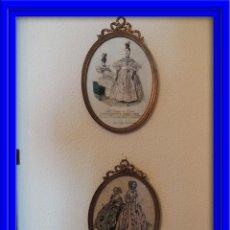 Antigüedades: ANTIGUOS DIBUJOS DE VESTIDOS EN MARCOS ANTIGUOS DE BRONCE. Lote 48537761