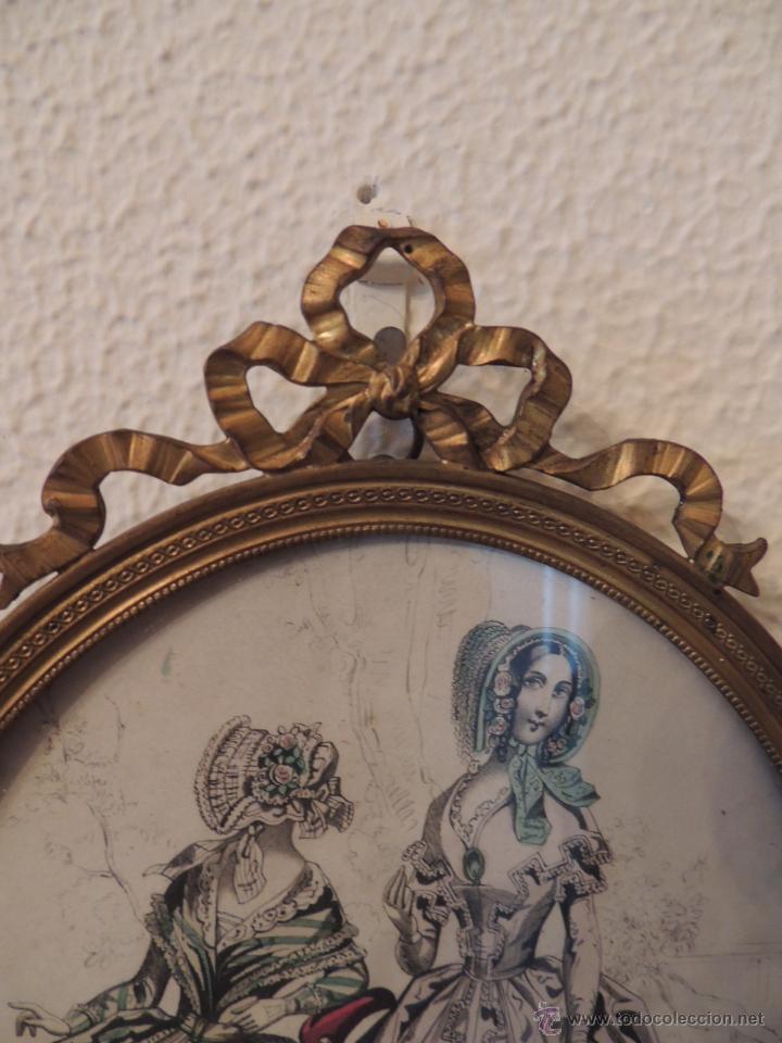 Antigüedades: ANTIGUOS DIBUJOS DE VESTIDOS EN MARCOS ANTIGUOS DE BRONCE - Foto 5 - 48537761
