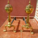 Antigüedades: MORILLOS PARA CHIMENEA EN HIERRO DE FORJA Y BRONCE - ANTIGUOS. Lote 48544353