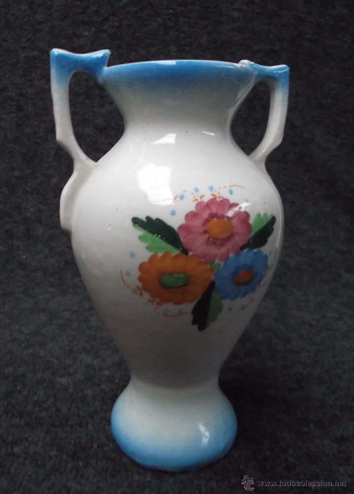 Antigüedades: JARRON ANTIGUO DE LOZA DECORADA A MANO - Foto 2 - 48545476