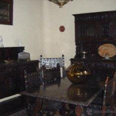 Antigüedades: COMEDOR DE NOGAL TALLADO AÑOS CUARENTA FORMADO POR 2 APARADORES, MESA, 5 SILLAS Y 2 SILLONES. Lote 48550807