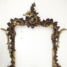 Antigüedades: MARAVILLOSO XVIII ESPEJO ROCOCO ORIGINAL CORNUCOPIA DORADA MARCO MADERA Y ESTUCO. Lote 48381382