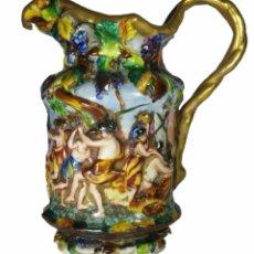 Antigüedades: JARRA EN PORCELANA PINTADA DE MANUFACTURA ITALIANA CAPODIMONTE. Lote 48569520