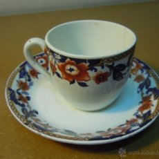 Antigüedades: TAZA CAFE CON SU PLATO DE LOZA DE SANJUAN DE AZNALFARACHE. Lote 48569888