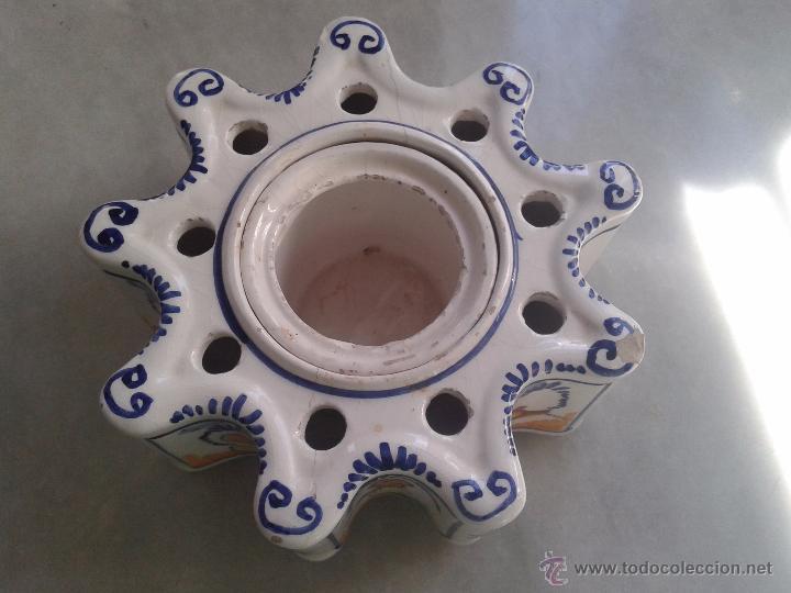 Antigüedades: TINTERO DE CERÁMICA DE SEVILLA TRIANA. - Foto 2 - 48584872