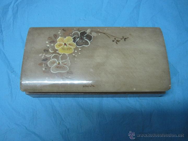 ANTIGUO JOYERO DECORADO DE MARMOL O ALABASTRO (Antigüedades - Hogar y Decoración - Cajas Antiguas)