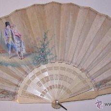 Antiquitäten - Abanico español, mediados siglo XIX. País de seda blanca, pintura tipo goyesca. Varillaje de hueso - 48607771