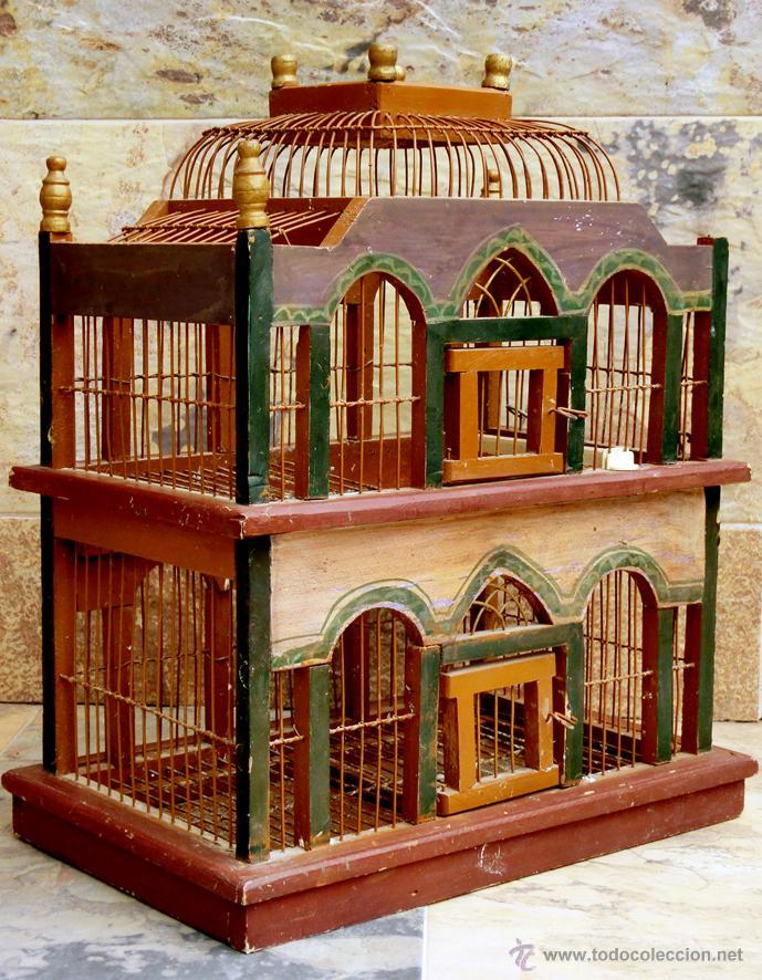 muy bonita y original jaula de madera y alambre comprar