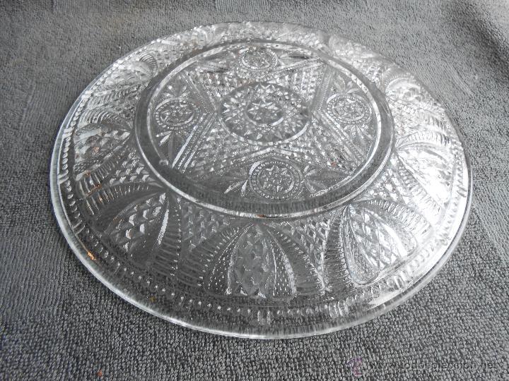 Antigüedades: ANTIGUO PLATO DE VIDRIO MOLDADO, POSIBLEMENTE SANTA LUCIA. CARTAGENA. 24CM - Foto 3 - 48619501