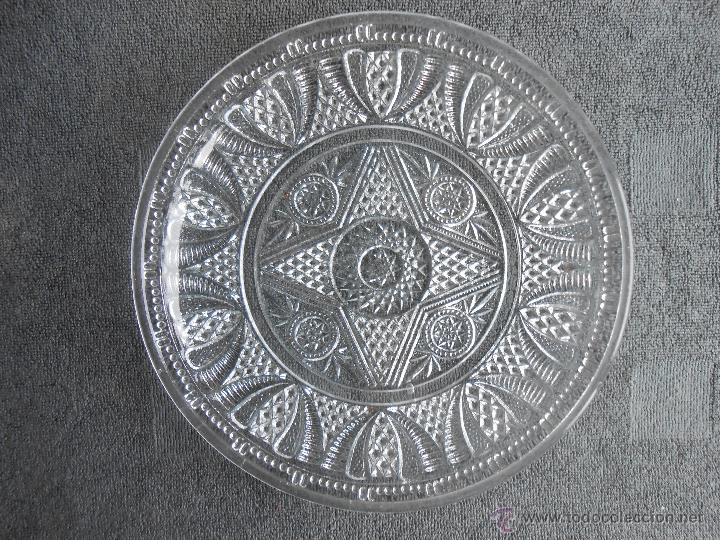 Antigüedades: ANTIGUO PLATO DE VIDRIO MOLDADO, POSIBLEMENTE SANTA LUCIA. CARTAGENA. 24CM - Foto 4 - 48619501