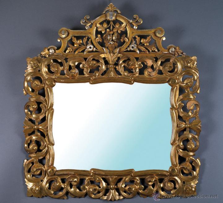 Maravilloso marco con espejo estilo barroco s x comprar for Disenos de espejos tallados en madera