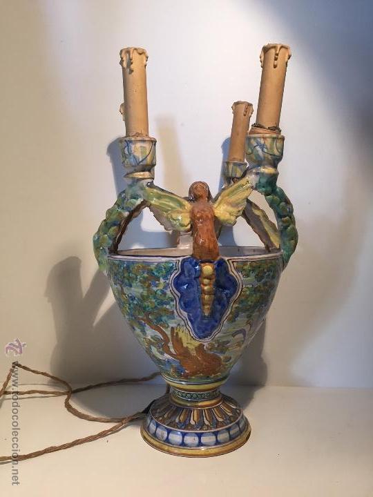 CERAMICA TALAVERA, PORTAVELAS. FIRMADO NIVEIRO. (Antigüedades - Porcelanas y Cerámicas - Talavera)
