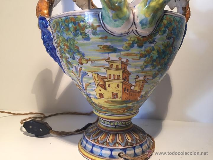 Antigüedades: CERAMICA TALAVERA, PORTAVELAS. FIRMADO NIVEIRO. - Foto 4 - 48628353
