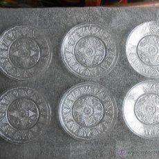 Antigüedades: 6 PLATOS DE POSTRE DE VIDRIO MOLDADO. POSIBLEMENTE. SANTA LUCIA CARTAGENA.. Lote 170280170