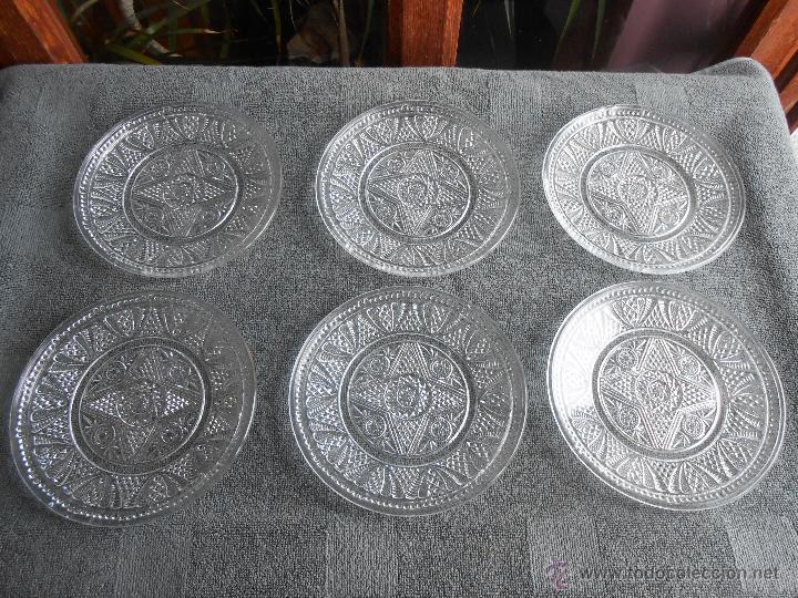 Antigüedades: 6 PLATOS DE POSTRE DE VIDRIO MOLDADO. POSIBLEMENTE. SANTA LUCIA CARTAGENA. - Foto 3 - 170280170