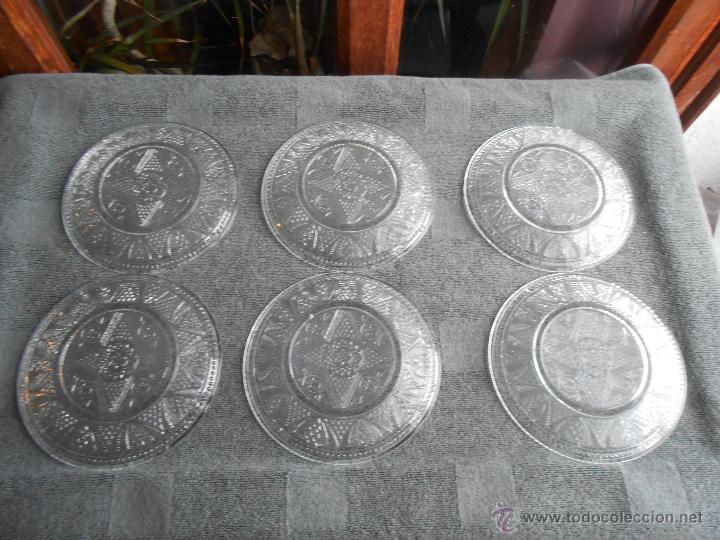 Antigüedades: 6 PLATOS DE POSTRE DE VIDRIO MOLDADO. POSIBLEMENTE. SANTA LUCIA CARTAGENA. - Foto 5 - 170280170