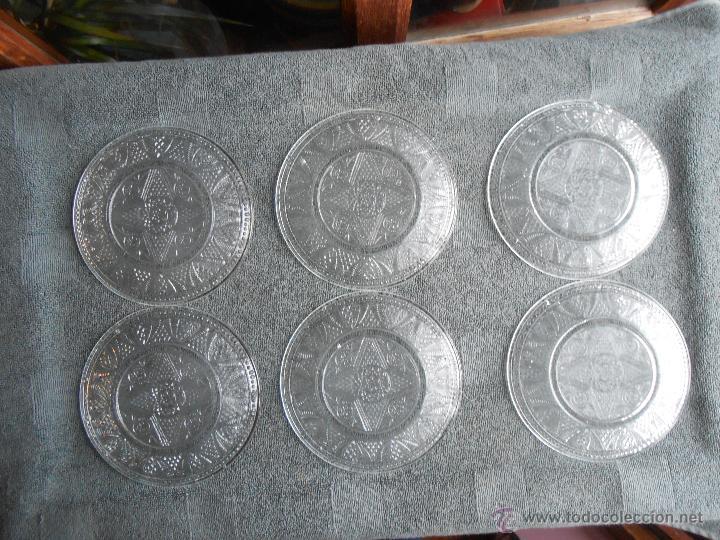Antigüedades: 6 PLATOS DE POSTRE DE VIDRIO MOLDADO. POSIBLEMENTE. SANTA LUCIA CARTAGENA. - Foto 6 - 170280170