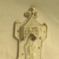 Antigüedades: VIRGEN MARIA PIQUETA BENDITERA PORCELANA ÉPOCA ISABELINA. MED. 14 CM. Lote 48650050