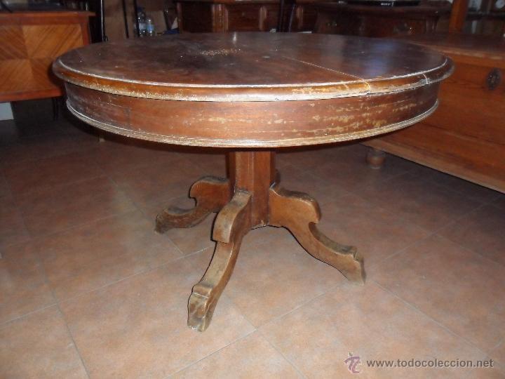 Antigua mesa redonda de pata central siglo xix comprar - Mesas redondas de comedor antiguas ...