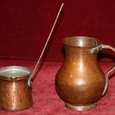 Antigüedades: JARRA Y CAZO EN COBRE DEL SIGLO XIX Y XX. Lote 48656810