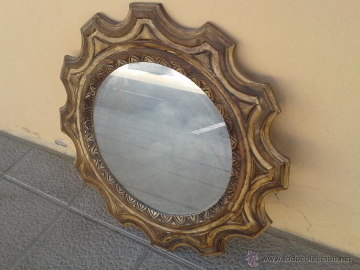 Marco redondo estucado madera con espejo comprar for Espejo redondo marco madera