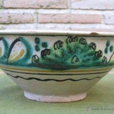 Antigüedades: CUENCO ANTIGUO EN CERAMICA VIDRIADA DE PUENTE DEL ARZOBISPO ( TOLEDO ). Lote 48657686
