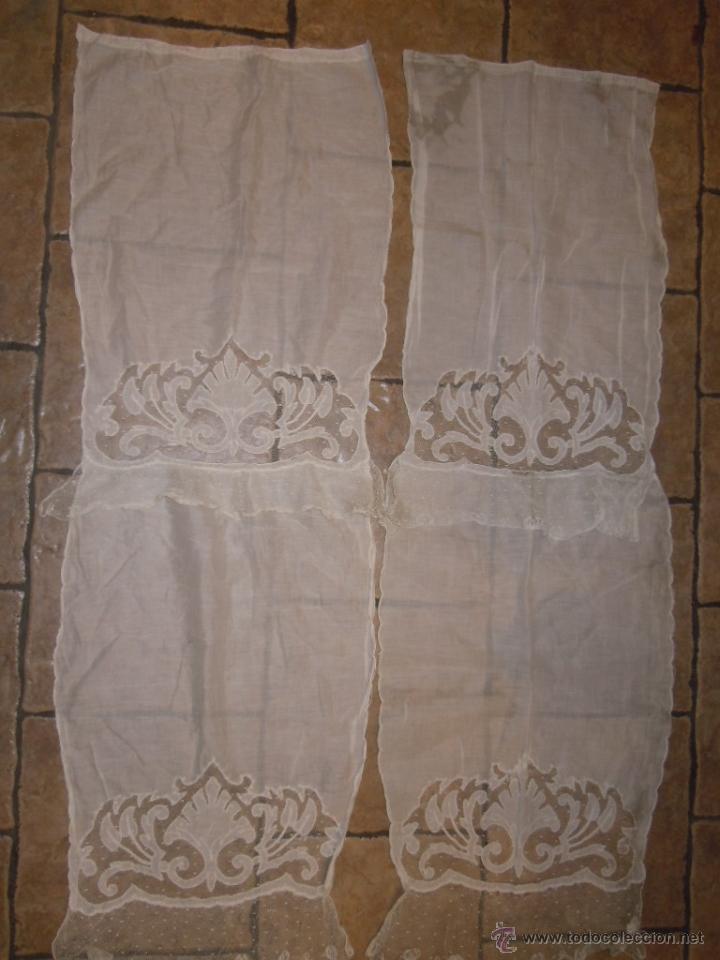 pareja de visillos de tela de batista con borda comprar On visillos antiguos