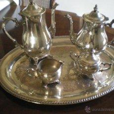 Antigüedades: JUEGO DE SERVICIO DE CAFE-TÉ CON BANDEJA -ALPACA PLATEADA. Lote 48689665